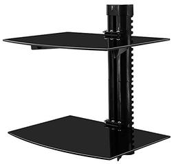 2 Floating Shelves Large Wall Mount Tempered Glass TV Access