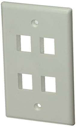 Monoprice 106731 Wall Plate for Keystone 4 Hole, White
