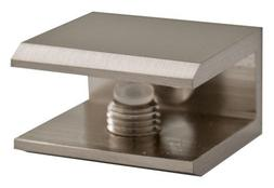 TroySys S3SSC-1000BSN Brushed Nickel Square Glass Shelf Brac