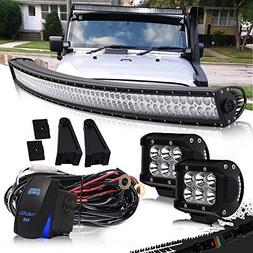 "DOT 52"" Inch Curved Led Light Bar Combo Grill Windshield Bum"