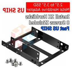 "Dual 2.5"" SSD HDD to 3.5"" Metal Mount PC Casing Hard Drive B"