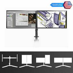 Free Standing Dual PC Twin Arm Desk Monitor Mount Stand Scre