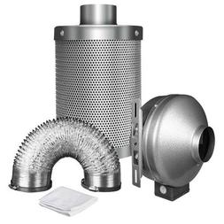 """iPower 4 Inch 190 CFM Duct Inline Fan with 4"""" Carbon Filter"""