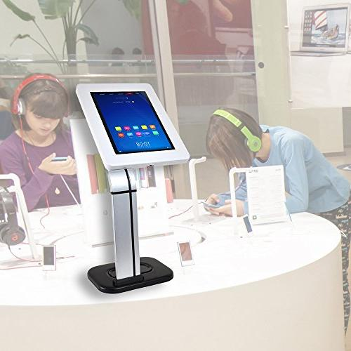 Anti-Theft Tablet Security Kiosk - Desktop Table Mount Tablet Holder w/ Lock, Clamp Arm, Cable Routing, iPad 3, 4, Samsung, Tablets - Pyle
