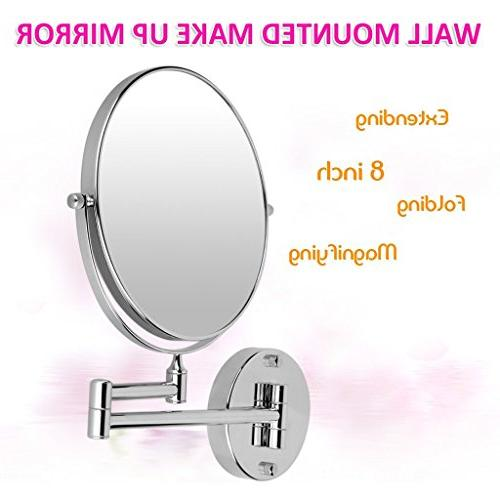 Excelvan 10x Magnification Inch Double-Sided Swivel Wall Mount Makeup Inch Extension, Polished Finished