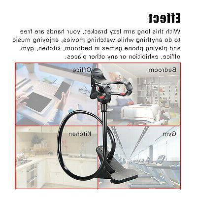 Flexible 360° Clip Mobile Cell Phone Holder Lazy Bed Mount Stand