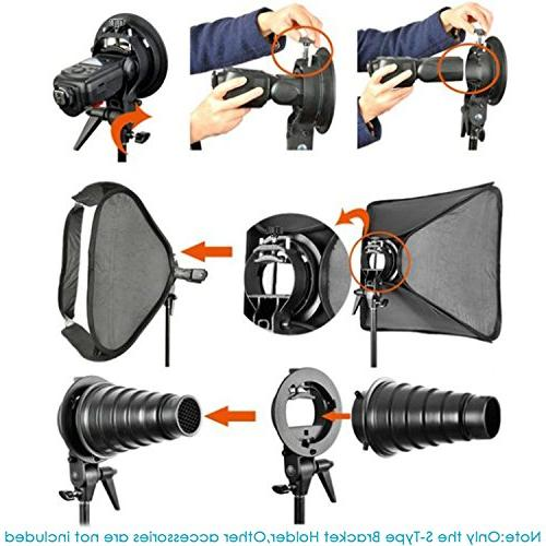 Neewer S-Type Bracket Holder with for Speedlite Snoot Softbox Beauty dish Reflector