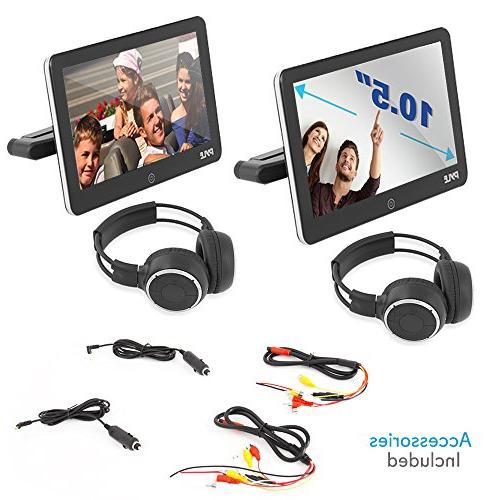 Android Monitor Touchscreen Entertainment System Multimedia Player & Bluetooth - & Wireless Headphones Pyle PLDANDHR1053