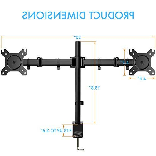 Dual Arm Full Desk Riser Stand C-Clamp for Two 13 to 27 inch Computer 17.6lbs HUANUO