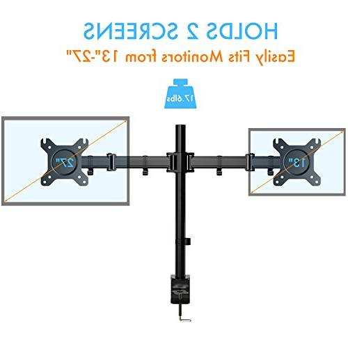 Dual Arm Monitor Full Desk Stand C-Clamp for Two 13 to 27 Computer 17.6lbs HUANUO