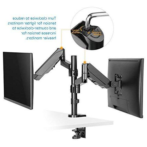 Dual Monitor Stand, Full Motion Adjustable Spring Mount with C Clamp/Grommet for Two 32 inch LCD Screens, Arm Holds HDMI Cable