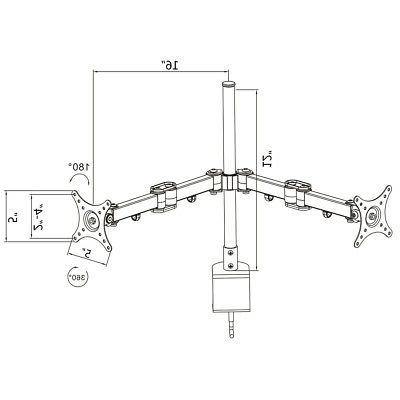 Dual LCD Monitor Spring Arms TV Desk Mount Stand Screens Up To