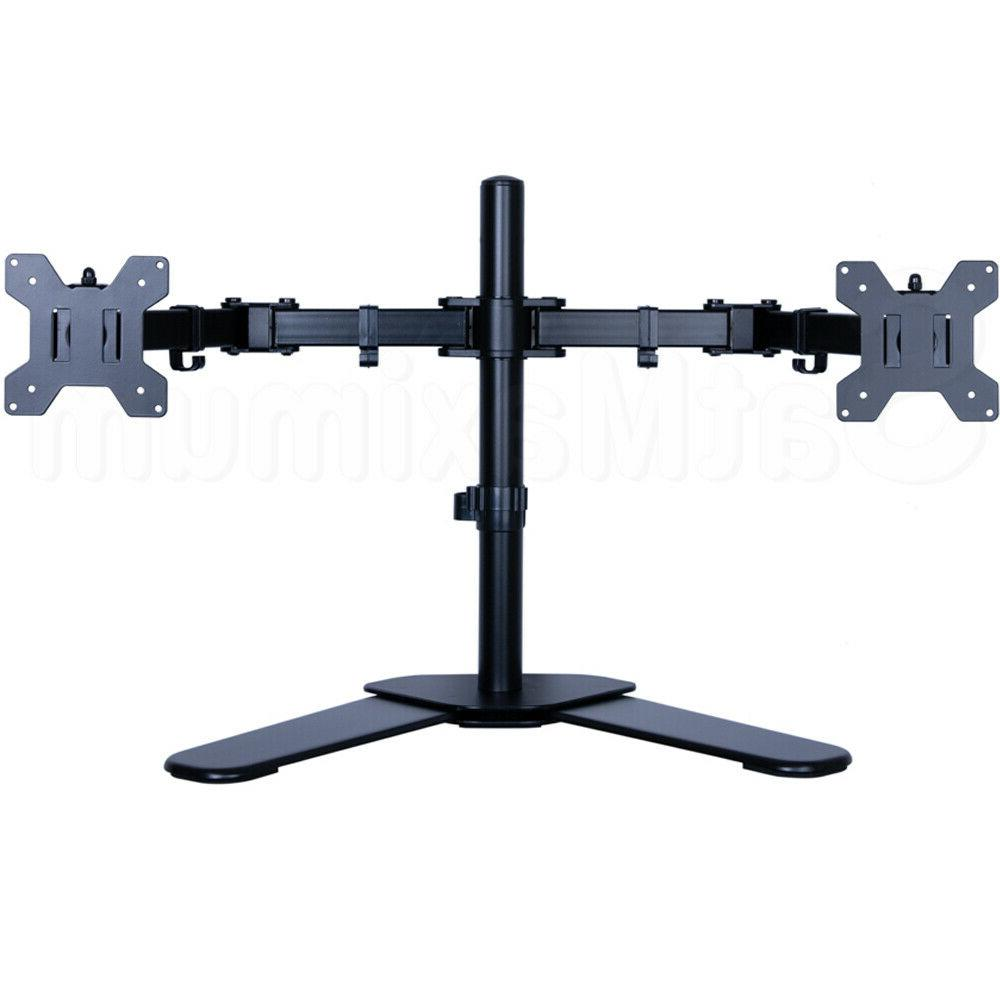"""Dual Arm Monitor Desk Stand Adjustable 2 Screen Mount Two 10""""-"""