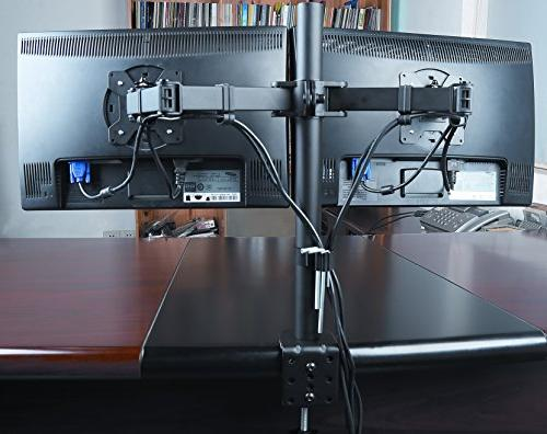 Husky Dual Monitor Stand Full Motion Tilt Fully Desk Mount Bracket clamp mounting Options Holds Screens up Arms