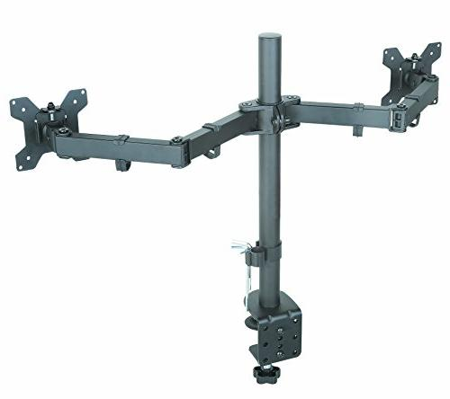 Husky Mounts Dual Stand Motion Tilt Fully Desk clamp Options Holds Screens up each, Arms