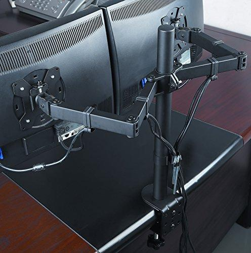 "Husky Mounts Stand Full Motion Tilt Fully Adjustable Desk Mount with clamp and Grommet Options Screens to 27"" each, Heavy Arms"
