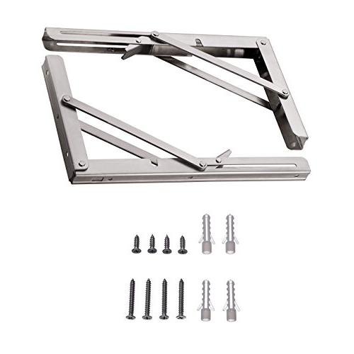 """YUMORE Brackets 12"""", Heavy Duty Stainless Steel Collapsible Bracket for Table Work Space Saving of"""