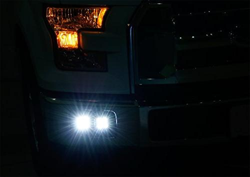 iJDMTOY Dual Light For Ford F150, 2017-up F350, 20W Power CREE LED Cubes, Foglight Location Mounting Harnesses