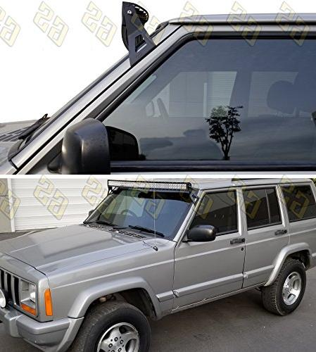 GS Jeep LED Bar Mounting Brackets XJ, 1986-1992 Comanche MJ Mount Off Lights at Upper pillar