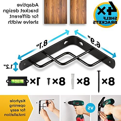 Shelf Brackets, Heavy Duty, Modern, Fit Shelves with and | for Workplace Steel black