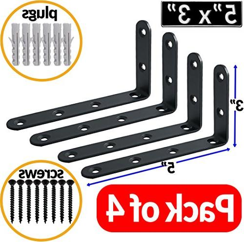 """5"""" x 3"""" Shaped Corner Brace Shelf Brackets Angle Steel Supports Shelves. and Screws and per Included"""