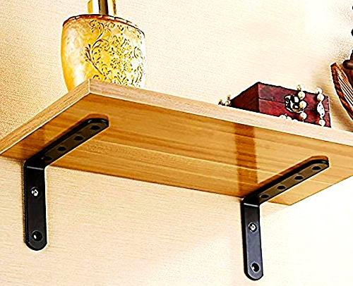 """5"""" x 3"""" Shaped Corner Brace Brackets 4. Angle Black Heavy-Duty Solid Steel for Shelves. Discreet Strong and and per Included"""
