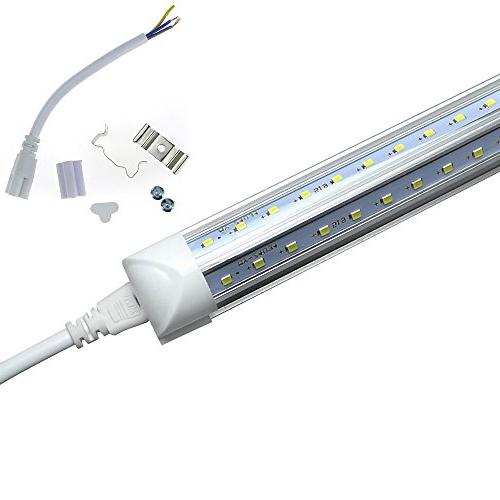 LED Tube Light,Double V Lamp, 8FT Works T8 Plug and Play, Lens Cover, Cold White