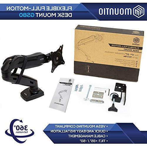 Mountio LCD Monitor Arm - Spring Desk Mount Stand for up 27""