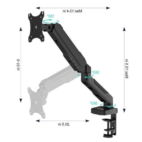 "Single Arm Desk Bracket Ergonomic Clamp Stand LCD 15""-27"" TV"