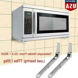 Pair Microwave Oven Bracket Foldable Stretch Wall Mount Rack