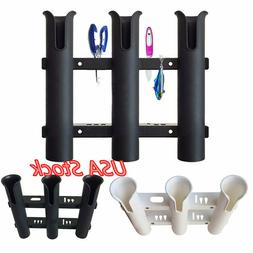 Plastic Fishing Rod Holder Boat Yacht 3 Pole Tube Rack Mount