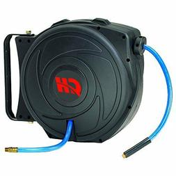 Air Hose Reel with Retractable 50 Foot Hose, 3/8 Inch ID, Mo